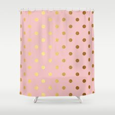 Gold polka dots on rosegold backround - Luxury pink pattern Shower Curtain