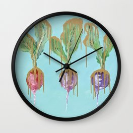 Radishes in Gold Wall Clock