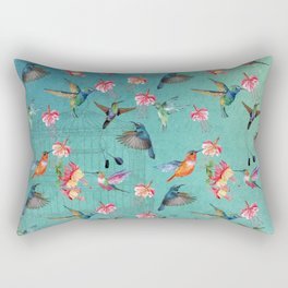 Vintage Watercolor hummingbirds and fuchsia flowers Rectangular Pillow