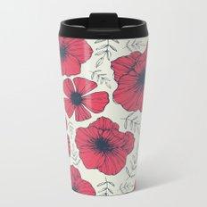 Raspberry Flowers Metal Travel Mug