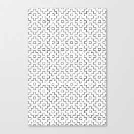 Persimmon Hitomezashi Sashiko - Black on White Canvas Print