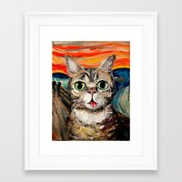 lil bub Framed Art Prints featuring Lil Bub Meets The Scream by Sagittarius Gallery