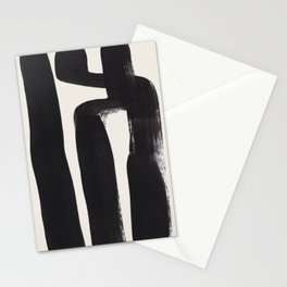 Mid Century Modern Minimalist Abstract Art Brush Strokes Black & White Ink Art Ancient Stripes Stationery Cards
