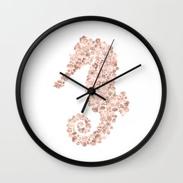 Floral Rose Gold Sea Horse Wall Clock