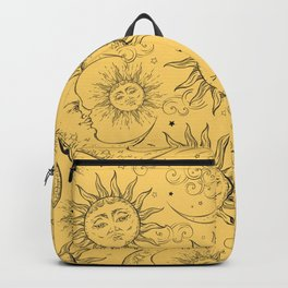 Yellow Magic Celestial Sun Moon Stars Backpack