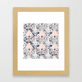 watercolor IKAT collage, mixed media, pastel pattern, pink, indigo, grey, black, sky blue Framed Art Print