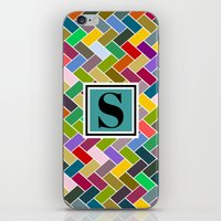 monogram iPhone & iPod Skins featuring S Monogram by mailboxdisco