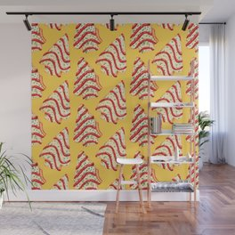 Christmas Tree Cakes Pattern - Yellow Wall Mural