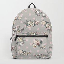 Vintage chic artistic pink ivory polka dots floral Backpack