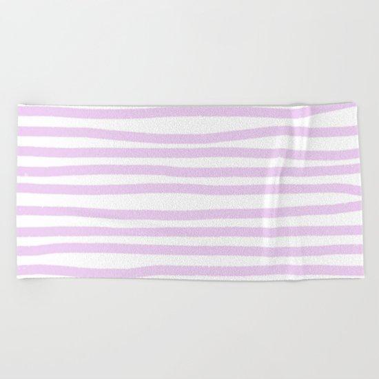 Lilac Stripes Horizontal Beach Towel