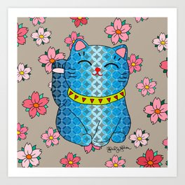 Japanese Lucky Cat and Cherry Blossoms  Art Print