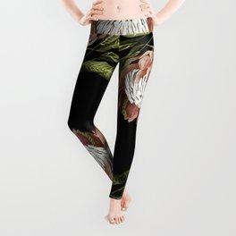 protea watercolor black Leggings