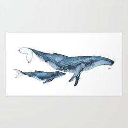 Whale & whale calf Art Print