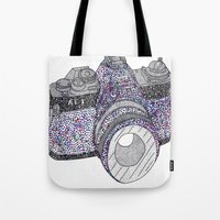 camera Tote Bags featuring camera by smurfmonster