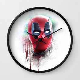 dead pool abstract watercolor portrait painting | Original Fan Art Wall Clock