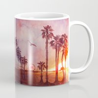 santa monica Mugs featuring Sunset in Santa Monica by Kate Tova