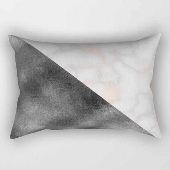 Rose gold marble and gunmetal grey storm Rectangular Pillow