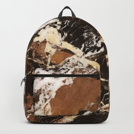 Sienna Brown and Black Marble With Creamy Veins Backpack