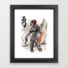 Mass Effect Commander Shepard Female Sumie Style Framed Art Print
