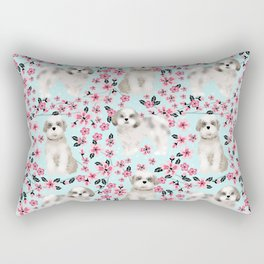 Shih Tzu dog breed florals pattern cherry blossom spring pet friendly gifts Rectangular Pillow