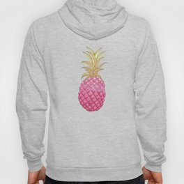 Ombre Pink Illustrated Pineapple Hoody