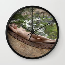 6893-LP Industrial Odalisque Fine Art Nude Woman by the Dead River Wall Clock