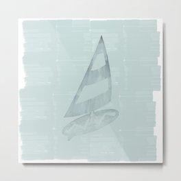 Gone Surfing in Mint Watercolor Metal Print