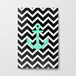 Tiffany Turquoise Anchor Black Zigzag Pattern Metal Print