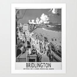 retro monochrome Bridlington retro poster Art Print