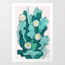 Blooming Cactus  turquoise teal Art Print