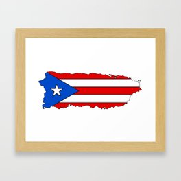 Puerto Rico Map with Puerto Rican Flag Framed Art Print