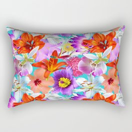 Tropical Floral Study in Turquoise Rectangular Pillow
