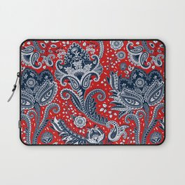 Red White & Blue Floral Paisley Laptop Sleeve