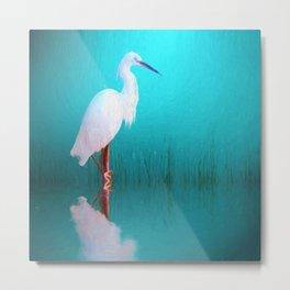 Egret in teal Metal Print