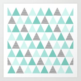 Black Stripes and Mint Triangles Art Print