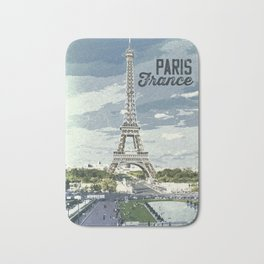 Paris, France / Vintage style poster Bath Mat