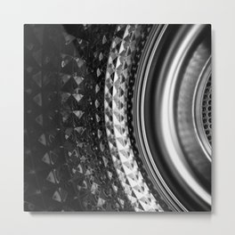 Shimmering textures of laundry machine drum -- Everyday art Metal Print