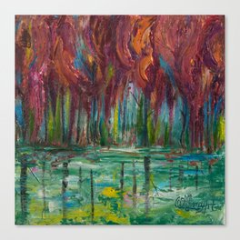 Red Trees Thick Impasto Abstract  Painting Canvas Print