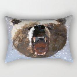Grizzly Bear Face - Watercolor Rectangular Pillow