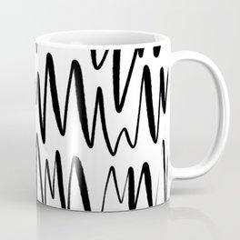 Modern Abstract Sleek Elegant Minimalistic Simplistic Swirl Line Hand Drawn Drawing White & Black Coffee Mug