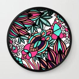 Hand drawn black pink teal modern floral illustration Wall Clock