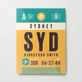 Luggage Tag A - SYD Sydney Kingsford Smith Metal Print