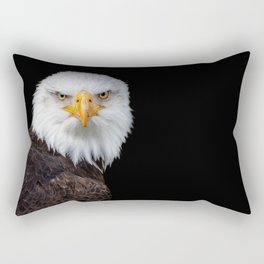 White Head Eagle with black background Rectangular Pillow
