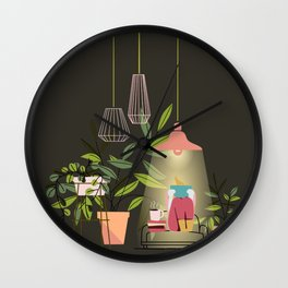 Cozy reading on my couch Wall Clock