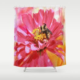 Zinna And Bee Shower Curtain