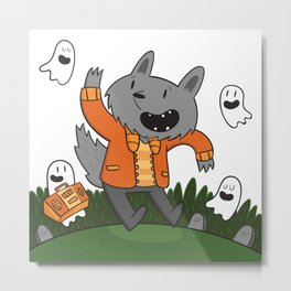Wolf Dancing with Ghosts Metal Print