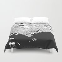 singapore Duvet Covers featuring Singapore Map Gray by City Art Posters