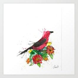 Bird with Flowers Art Print