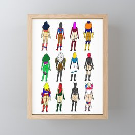 Superhero Butts - Girls Superheroine Butts Framed Mini Art Print