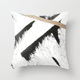 Sassy: a minimal abstract mixed-media piece in black, white, and gold by Alyssa Hamilton Art Throw Pillow